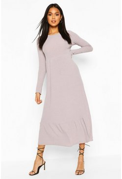 Grey Soft Rib Ruffle Tiered Midaxi Dress
