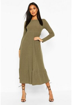Khaki Soft Rib Ruffle Tiered Midaxi Dress