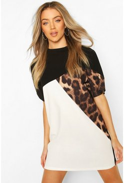 Black Leopard Colour Block T-Shirt Dress