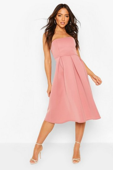 Rose Occasion Bandeau Midi Skater Dress