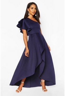 Navy One Shoulder Ruffle Skater Maxi Dress