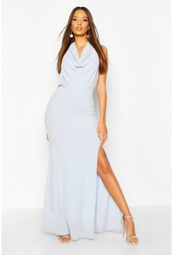 Cornflower blue Cowl Neck Halter High Split Maxi Dress