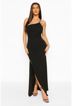 Black One Shoulder Strap Back Detail Maxi