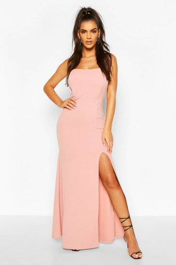 Blush Shaped Bandeau Thigh Split Maxi Dress