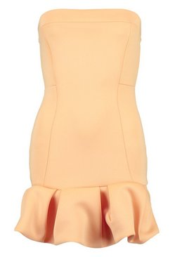 Apricot Puff Ball Bandeau Mini Dress