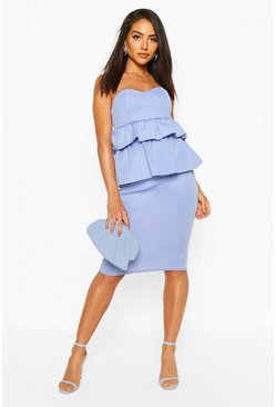 Blue Bandeau Peplum Midi Dress