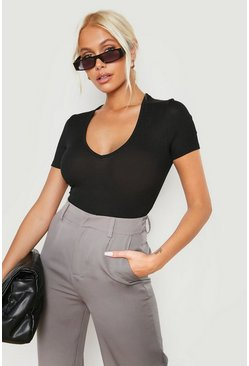 Black Rib Short Sleeve Wrap Bodysuit