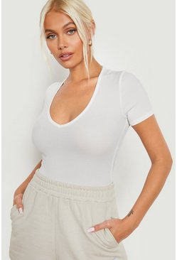 Ecru Rib Short Sleeve Wrap Bodysuit