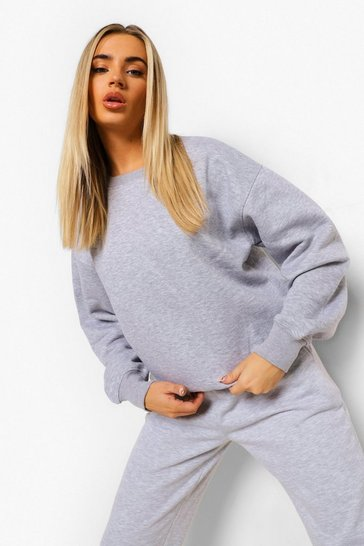 Grey marl grey Grey Basic Oversized Sweatshirt