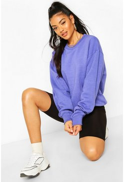 Light blue blue Basic Oversized Sweatshirt