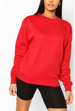 Red Basic Oversized Sweatshirt