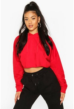 Red Basic Cropped Hoodie