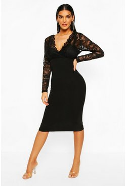 Black Long Sleeve Lace Top Midi Dress