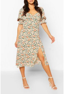 Pink Floral Puff Sleeve Slit Front Midi Dress