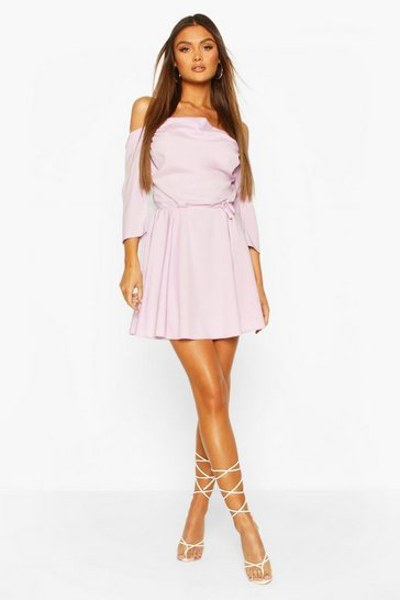 Lilac purple Cowl Neck Cold Shoulder Skater Dress
