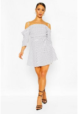 Cold Shoulder Skater Dress, White