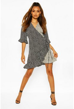Black Contrast Smudge Print Frill Hem Wrap Skater Dress