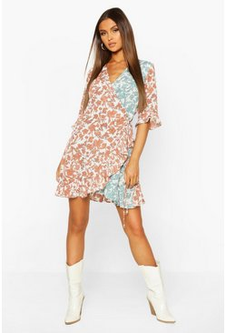 Rust orange Contrast Floral Print Frill Hem Wrap Skater Dress