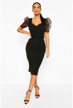 Black Organza Mesh Puff Sleeve Midi Dress