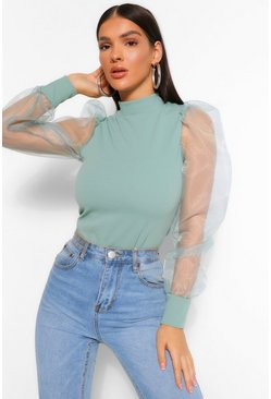 Sage green High Neck Organza Mesh Sleeve Bodysuit