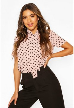 Blush pink Polka Dot Pussybow Short Sleeve Blouse