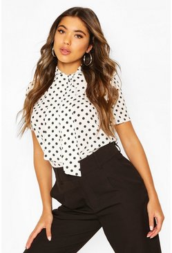 White Polka Dot Pussybow Short Sleeve Blouse