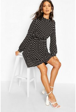 Black High Neck Polka Dot Skater Dress
