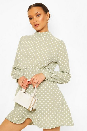 Sage green High Neck Polka Dot Skater Dress
