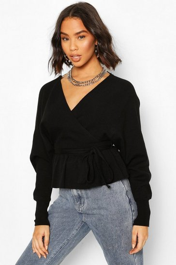 Black Knitted Wrap Peplum Jumper