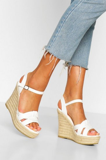 White Twist Front Espadrille Wedges