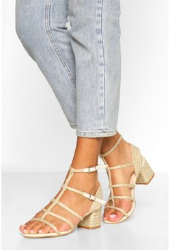 Beige Woven Caged Block Heel Sandals