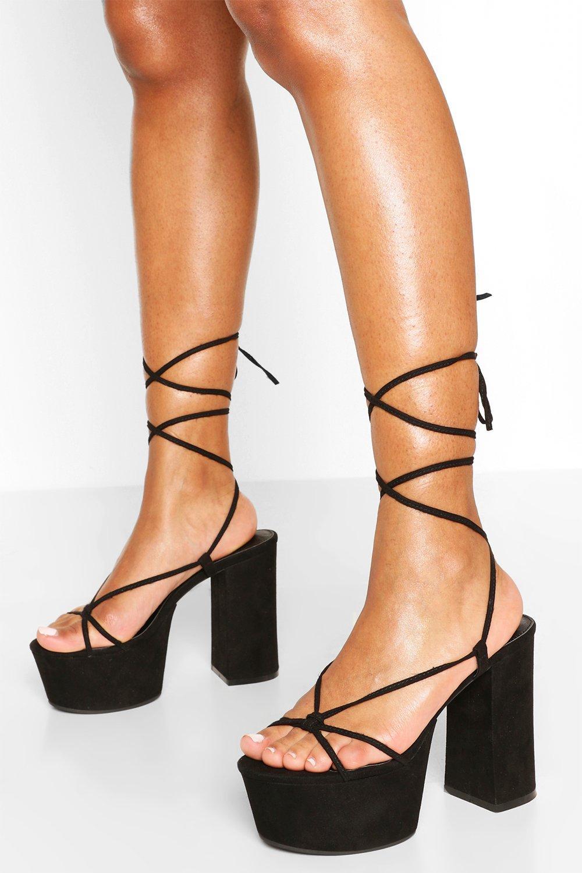 black strap platform heels