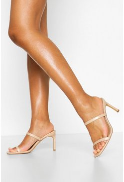 Nude Double Strap Square Toe Mules