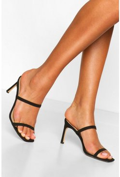 Black Double Strap Square Toe Mules