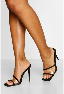 Black Clear Panel Stiletto Heel Mules