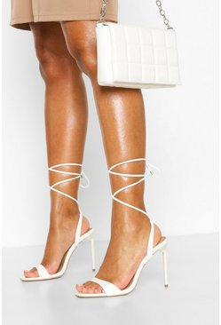 White Strappy Square Toe Sandals