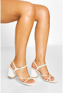White Strappy Square Toe Block Heels