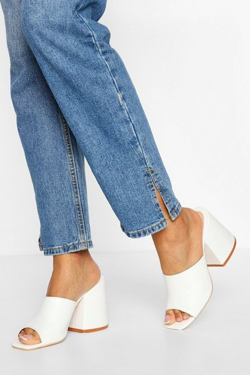 White Feature Block Heel Mules