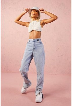 Light blue High Rise Split Hem Straight Leg Jean