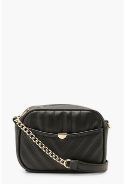 Black Quilted Zip Around Cross Body Bag