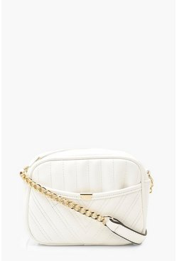 White Quilted Zip Around Cross Body Bag