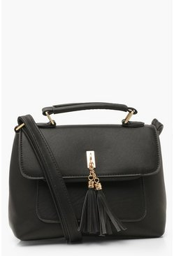 Black Smooth PU Tassel Detail Cross Body Bag