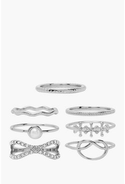 Silver Knot And Textured Stacking Ring 7 Pack