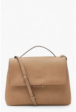Camel beige Slouchy PU Fold Over Cross Body Bag