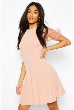 Blush pink Rib Organza Sleeve Skater Dress