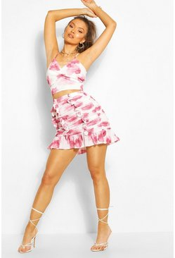 Pink Floral Mesh Ruched Ruffle Mini Skirt