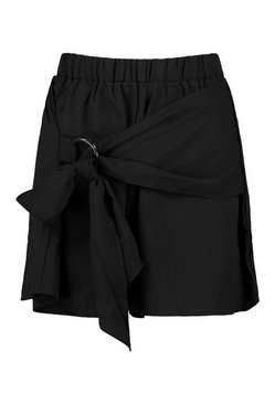 Black Tie Detail Floaty Shorts