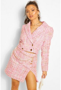 Pink Boucle Tailored Cropped Blazer