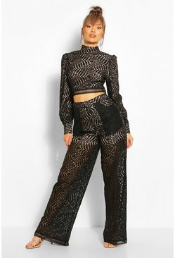 Black Lace Tailored Trousers