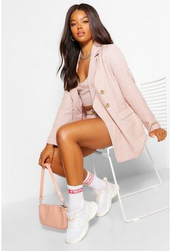 Pink Checked Tailored Oversized Blazer